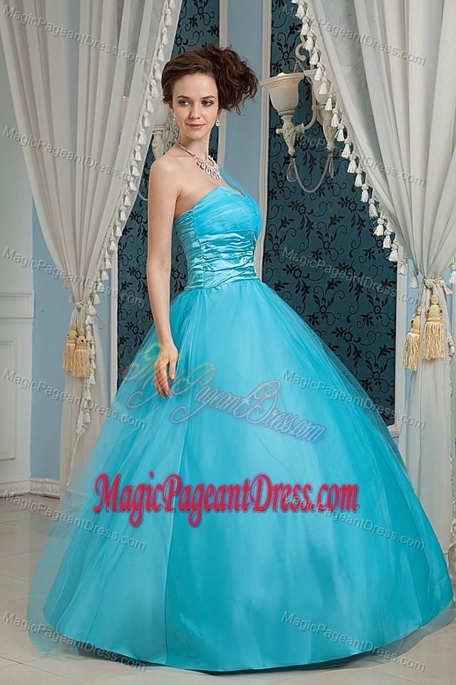 Tulle and Taffeta Sky Blue A-line Pageant Dress with Appliques in Ames