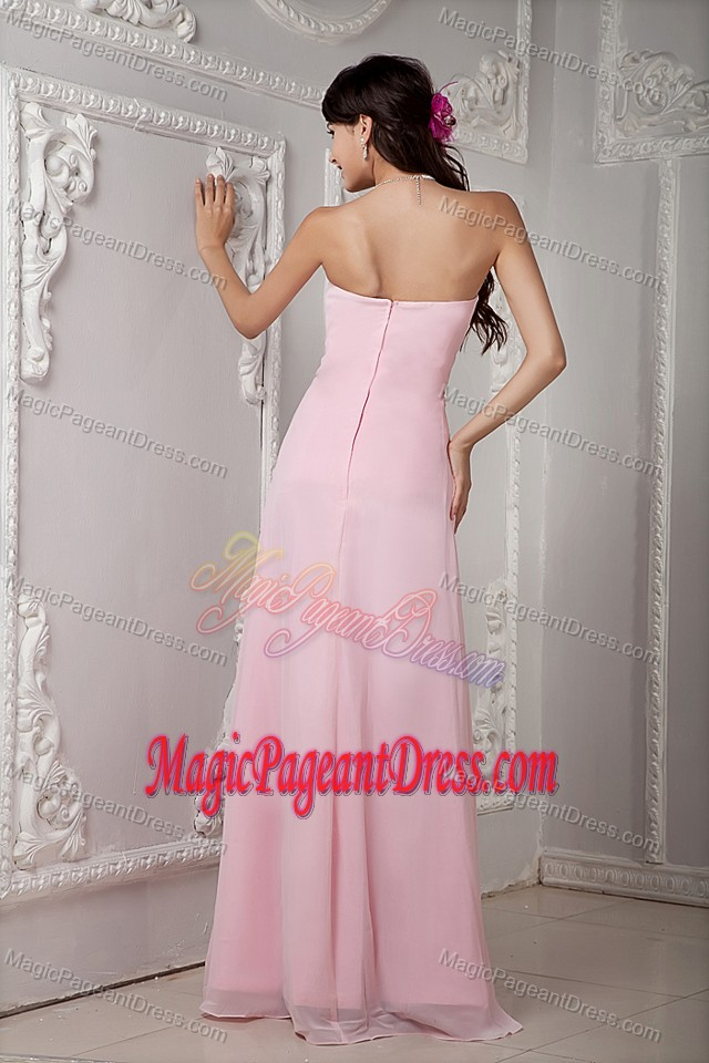 Baby Pink Empire Strapless Chiffon Pageant Dress in Beading in Acton