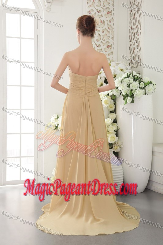Gold Empire Strapless Dresses For Pageants In Nj with Appliques and Ruches in Joplin
