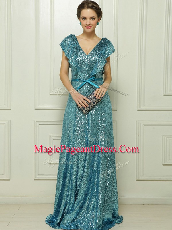 Delicate Floor Length Teal Pageant Dress for Girls Sequined Sleeveless Sequins and Bowknot