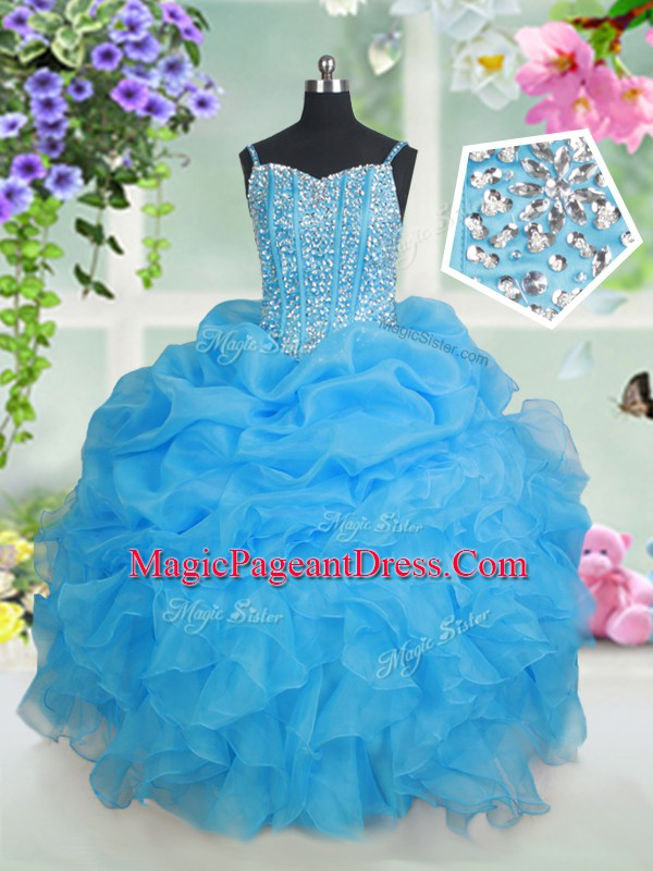 Sleeveless Beading and Ruffles and Pick Ups Lace Up Pageant Dress Toddler