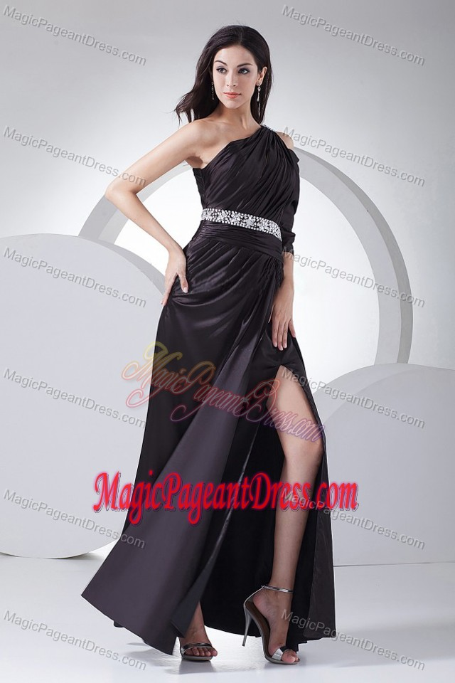 High Slit Ruched One Shoulder Beaded Beauty Pageants Dress in Tennessee