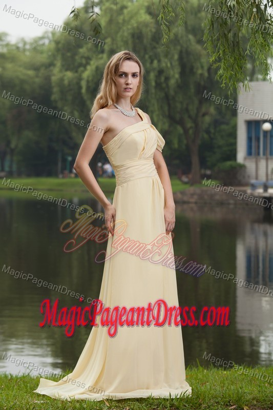 Simple One Shoulder Chiffon Light Yellow Pageant Dress in Toledo Illinois