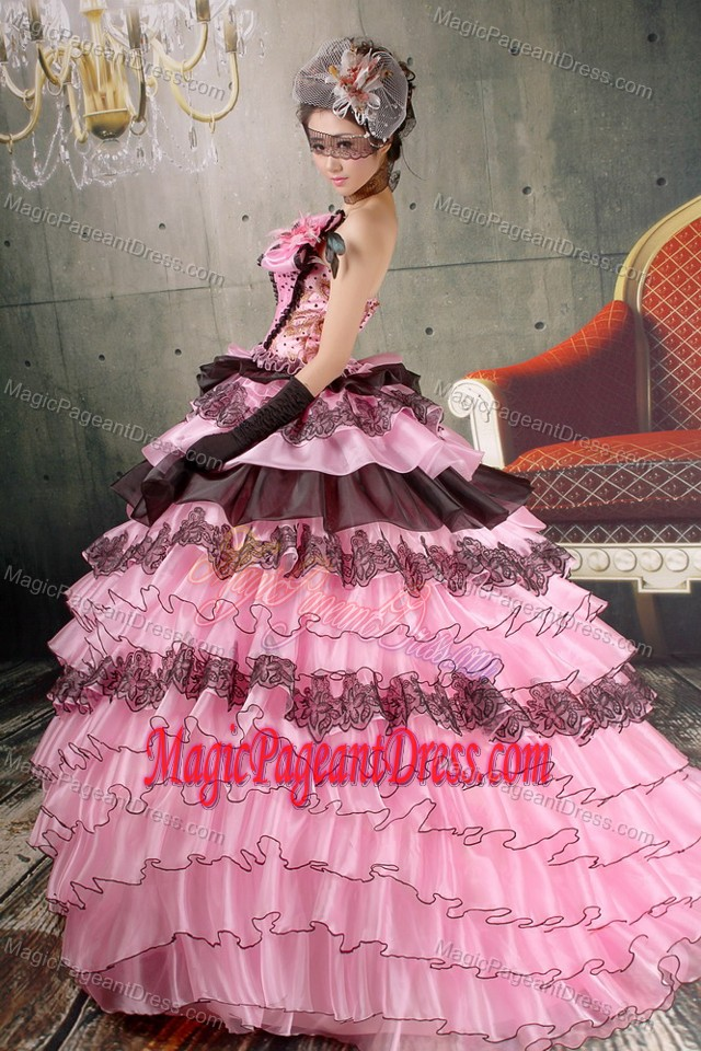 Ruffled Beaded Baby Pink And Black Beauty Pageant Dresses on Promotion