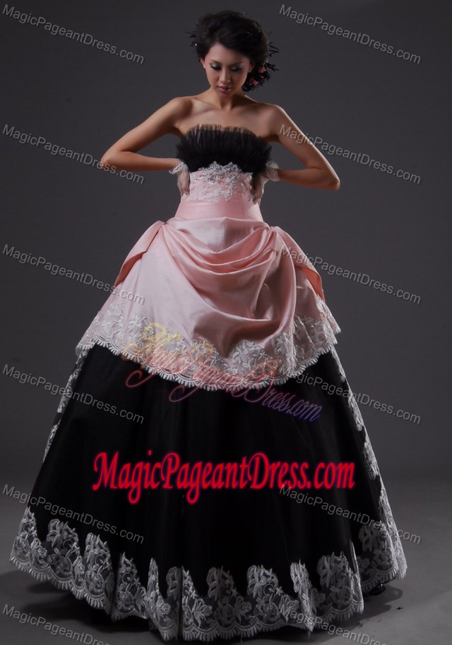 Strapless Ball Gown Appliqued Black-Pink Pageant Dress for Girls with Pick-ups