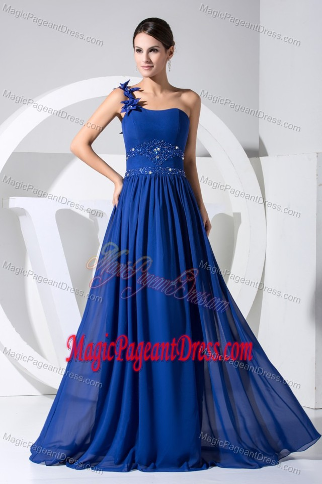 Royal Blue One-Shoulder Floor-Length Beaded Pageant Dress with Flowers in Delta