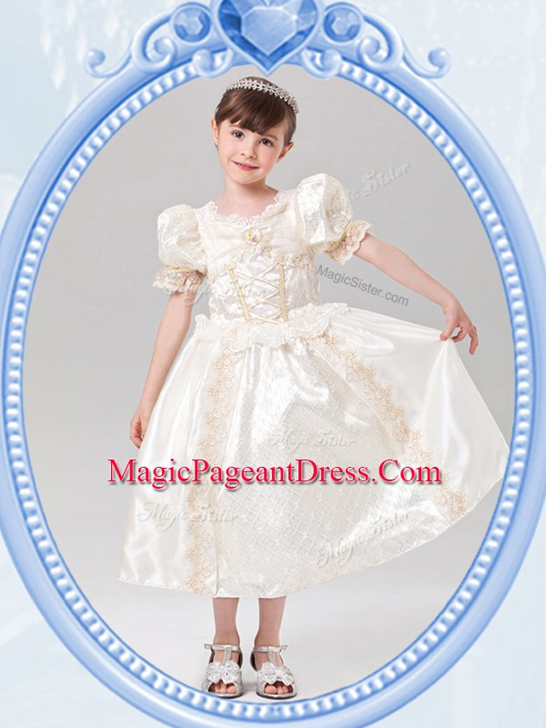 Pretty Scoop Short Sleeves Tea Length Beading Zipper Pageant Dresses with White