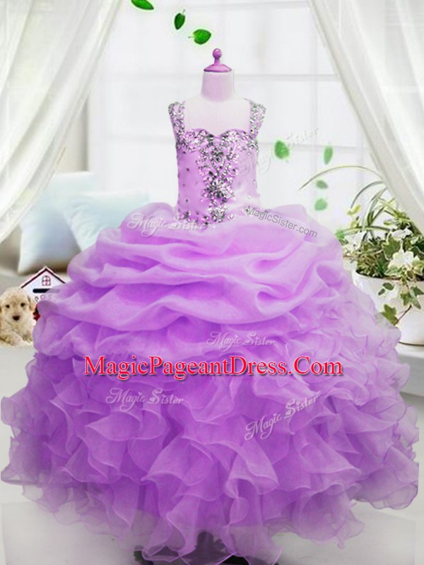 Hot Selling Rose Pink Ball Gowns Square Sleeveless Organza Floor Length Zipper Beading and Ruffles and Pick Ups Pageant Gowns For Girls