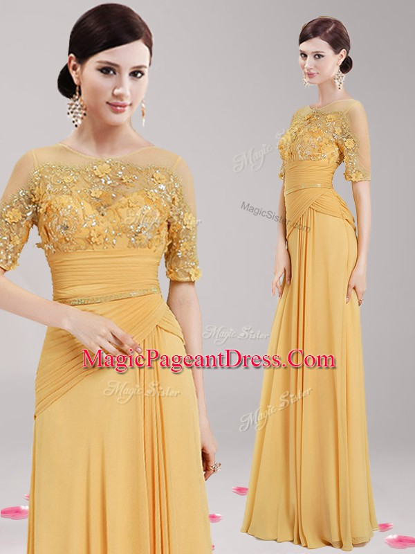 Gold Scoop Neckline Appliques and Belt Pageant Dresses Half Sleeves Zipper