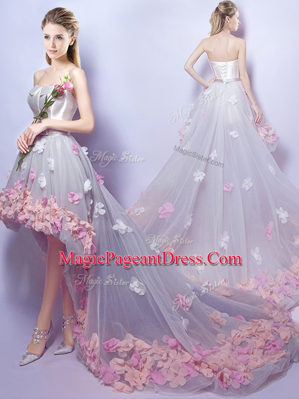 Custom Fit Grey Lace Up Sweetheart Appliques Evening Gowns Tulle Sleeveless