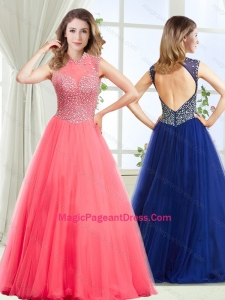 2016 Fashionable See Through High Neck Pageant Dress with Beading