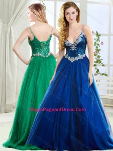 Fashionable Spaghetti Straps Royal Blue Pageant Dress with Beading and Sequins