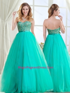 Sophisticated Beaded and Belted Tulle Pageant Dress in Turquoise