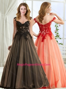 Top Selling V Neck Zipper Up Pageant Dress with Black Appliques