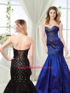 Wonderful Mermaid Royal Blue Pageant Dress with Colorful Rhinestones