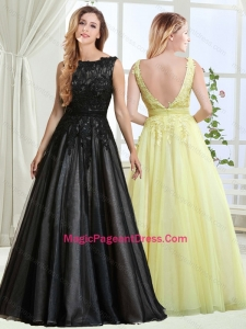 Discount A Line Bateau Backless Laced Pageant Dress in Black