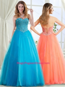 Discount A Line Beaded Bodice Pageant Dress in Baby Blue
