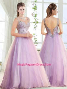 Discount Beaded Decorated Straps Pageant Dress with Brush Train