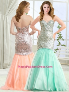 Discount Mermaid Apple Green Pageant Dress in Tulle and Sequins
