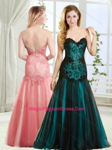 Discount Mermaid Beaded and Laced Pageant Dress in Tulle