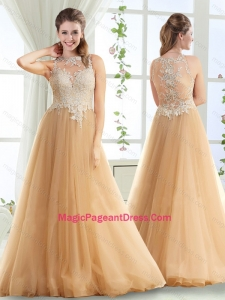 Discount See Through High Neck Champagne Pageant Dress with Brush Train