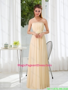2016 Popular Empire Strapless Ruching and Belt Pageant Dresses with Floor