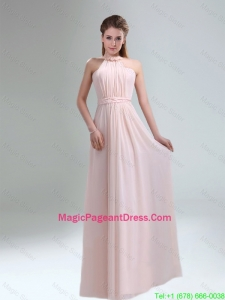 2016 Popular High Neck Chiffon Light Pink Pageant Dresses