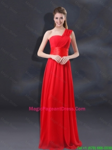 One Shoulder Ruching Empire Popular Pageant Dresses for 2016