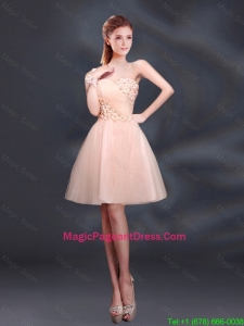 Sweet One Shoulder A Line Appliques Pageant Dresses for 2016