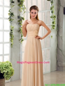 2016 Popular Champagne Ruching Chiffon Pageant Dresses with Sweetheart