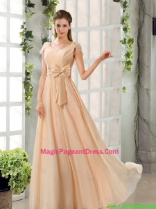 2016 Scoop Ruching Cap Sleeves Chiffon Pageant Dresses in Champagne