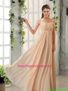 Empire V Neck Ruching Chiffon Pageant Dresses for 2016