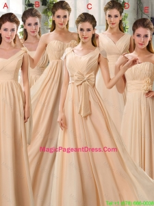 Fashionable Champagne Ruching Chiffon Pageant Dresses for 2016