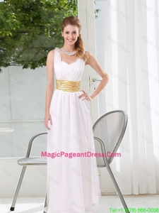 Natural White Empire Straps Ruching Pageant Dresses for 2016