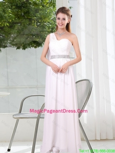 One Shoulder Empire Ruching Sequins White Pageant Dresses for 2016