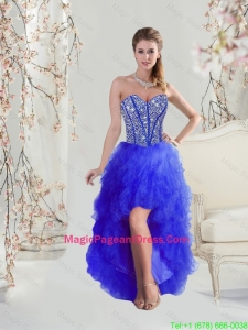 2016 Beaded and Ruffles High Low Pageant Dresses in Royal Blue