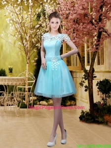 2016 Luxurious A Line Belt and Appliques Pageant Dresses with Cap Sleeves
