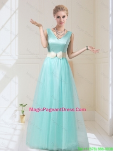 Delicate V Neck Floor Length Pageant Dresses with Bowknot for 2016