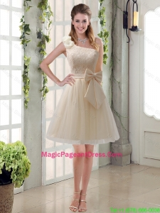2016 Princess One Shoulder Bowknot Lace Pageant Dresses in Champagne