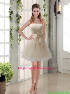 2016 Simple Ruching Strapless Princess Pageant Dresses with Bowknot
