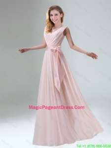 2016 Fashionable Belt Ruching Chiffon Pageant Dress with Bowknot