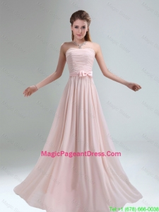 2016 Most Popular Light Pink Empire Pageant Dresses with Bowknot belt