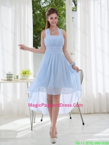 Halter Ruching 2016 Natural Chiffon Pageant Dress