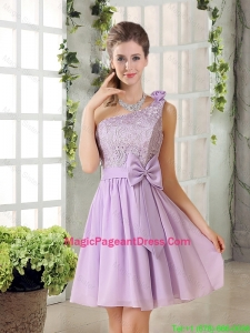 One Shoulder Lilac Pageant Dress with Bowknot for 2016