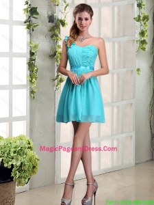 2016 A Line One Shoulder Ruching Pageant Dress