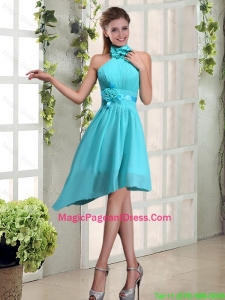 2016 Halter Ruching and Hand Made Flowers Pageant Dress