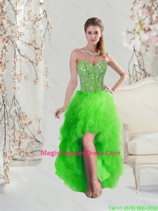 2016 Inexpensive High Low Sweetheart Spring Green Pageant Dresses with Beading