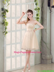 2016 Sweetheart A Line Appliques Champagne Pageant Dress