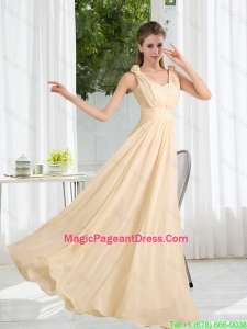2016 Modest V Neck Empire Ruching Pageant Dress