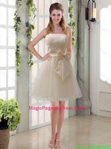 Popular Champagne Strapless Princess Bowknot Pageant Dresses for 2016